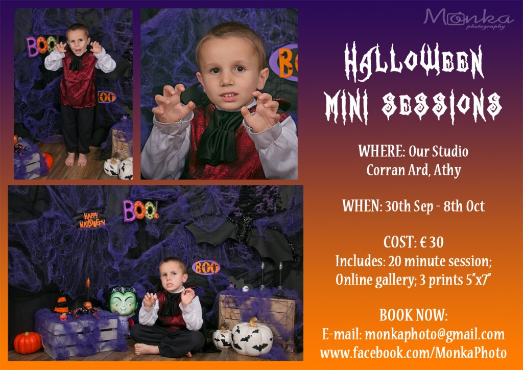 Halloween Mini Sessions at Monka Photography in Athy